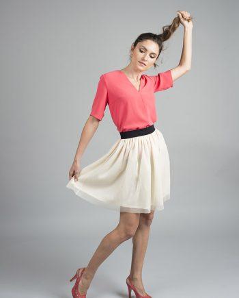 falda con vuelo blanca en tul
