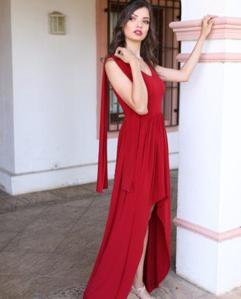 vestido invitada rojo largo