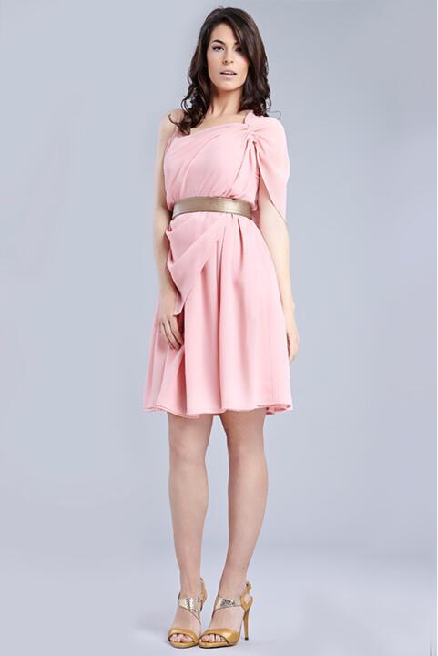 Vestidos cortos de fiesta rosa palo