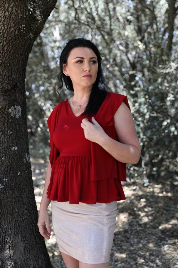 blusa roja para señora