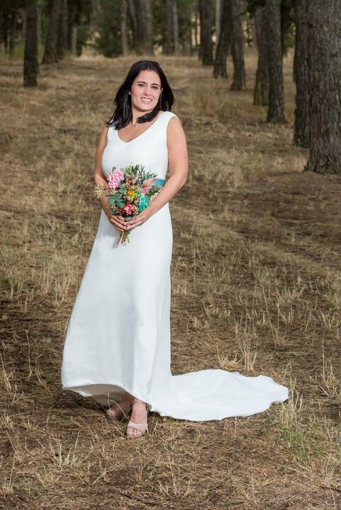 vestido de novia con azul