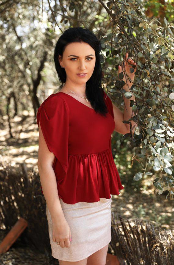 blusa de fiesta roja