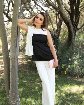 blusa blanca y nerga
