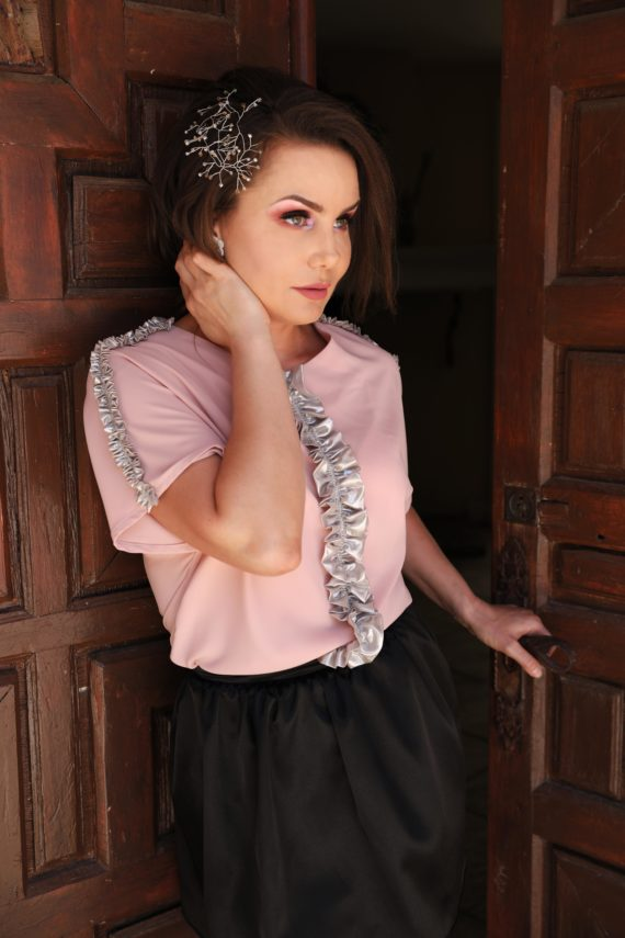 blusa de fiesta rosa