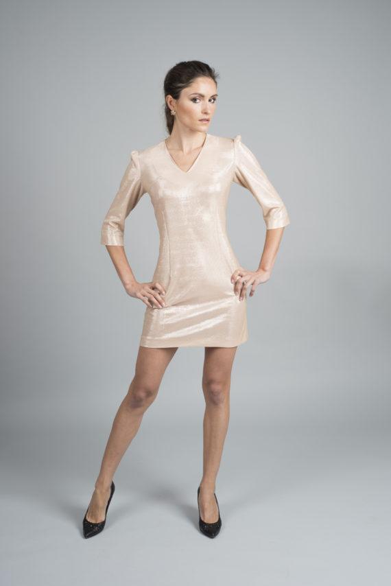 vestido corto de noche rosa