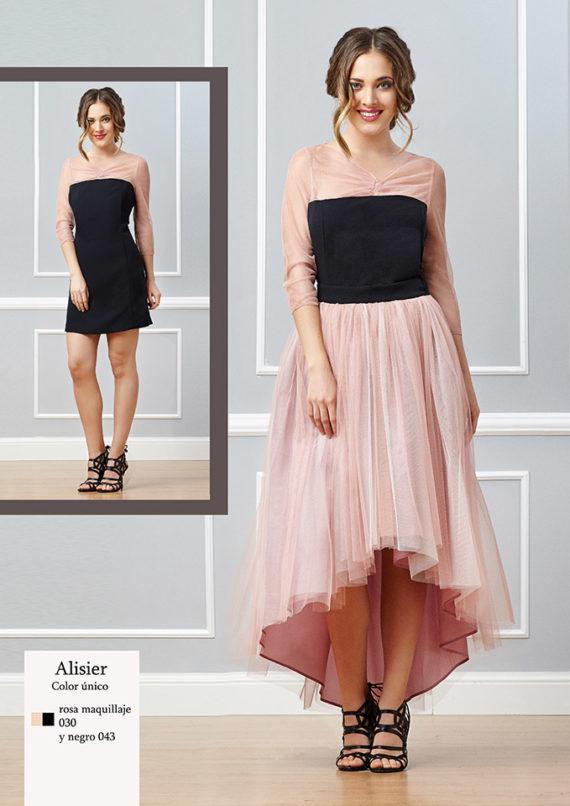vestido de noche de tul rosa