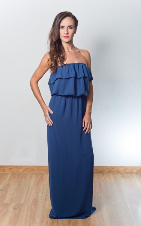 vestido de invitada largo azul marino