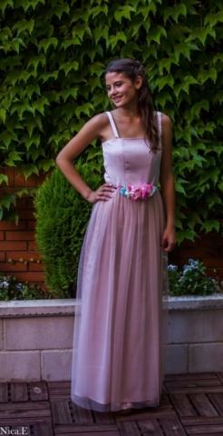 vestido de fiesta rosa para dama de honor a medida Madrid