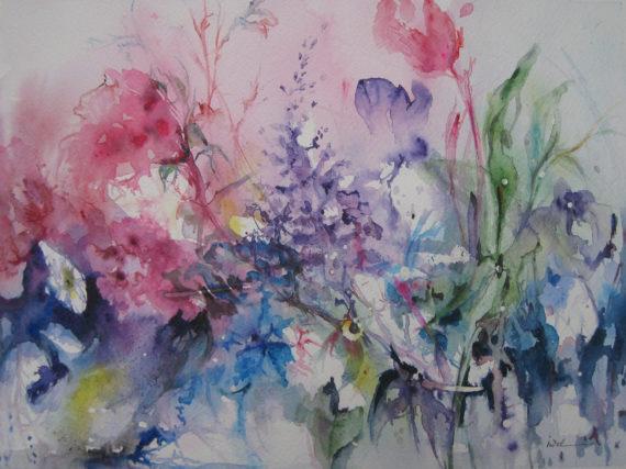aquarelle intituléeTutti Fiore qui a servi pour la collection de Valérie