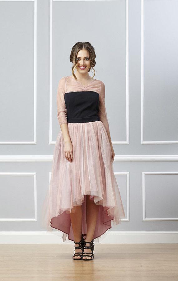 falda larga de tul rosa